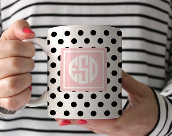 Personalized Coffee Mug -Polka dot with monogram