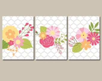 Baby Girl Nursery Wall Art, CANVAS or Prints Garden Flower Wall Art, Girl Nursery Quatrefoil Wedding Bouquet Set of 3 Decor Bedroom Bathroom