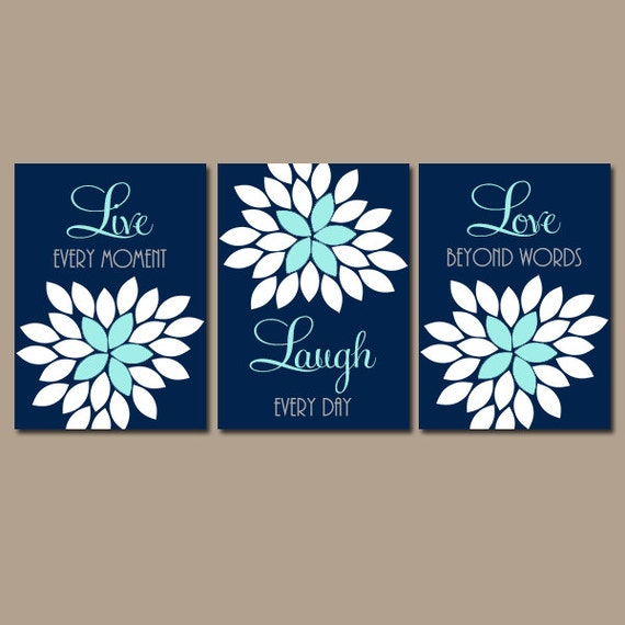 Live Laugh Love Navy Aqua Wall Art Canvas Or Prints Nursery