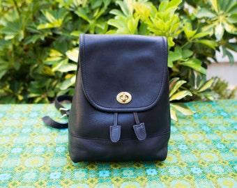 Vintage Black Coach Leather Backpack Rucksack Bag Purse Turn Lock Classic 9960 0406171