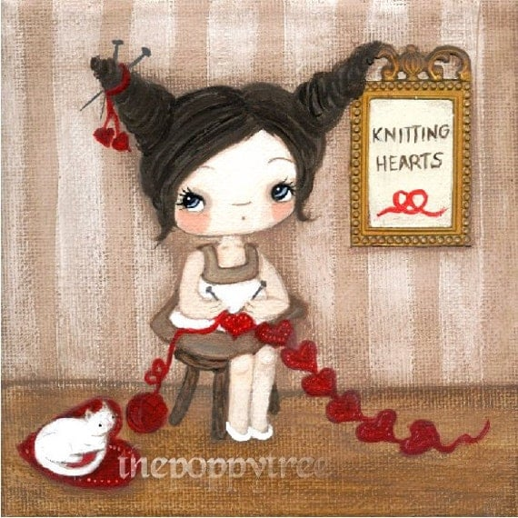 Knitting Print Girl Love Kitten Wall Art---Knitting Hearts 8 x 8