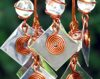 Rainbow Suncatcher with Copper Wrapped Glass Marbles and Sparkling Stainless Steel Accents