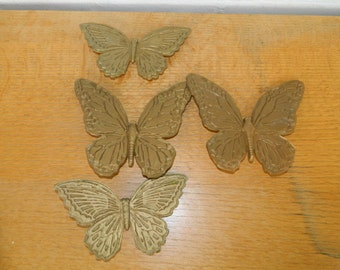 Vintage Wall Plaques--Gold Butterflies-Set of 4