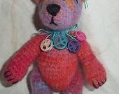 SHENAI peace loving THREAD miniature crocheted bear by bonbears kreations