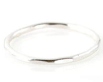 Hammered Stacking Ring - Thin Hammered Sterling Silver Stacking Ring - Rustic Silver Stacking Ring