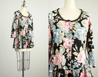 90s Vintage Floral Print Cotton Mini Tunic Shirt Dress / Size Small