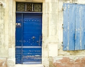 "France photography - indigo cobalt blue door provence france beige cornflower blue fine art travel photograph 8x10 16x20 ""French Blues"""
