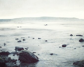 "Beach photography - black white beach art - gray wall art - misty landscape - black gray art - beach stones - nature photography ""Grey Tide"""