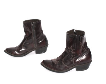 size 8 CHELSEA oxblood leather 70s 80s WESTERN high ankle zip up boots