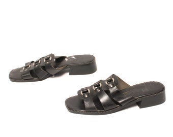 size 11 STRAPPY black leather 80s 90s HARNESS mules sandals SLIDES