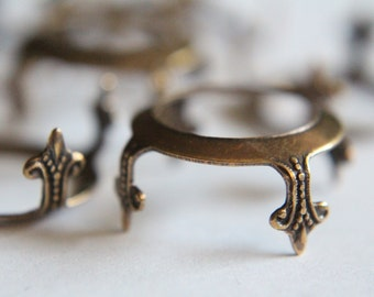 Vintage style oxidized brass prong settings 18mm (3)