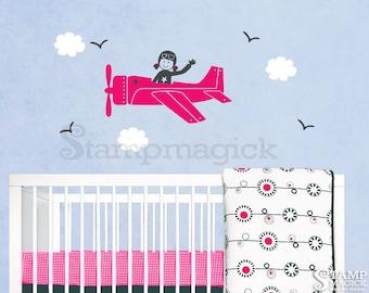 Girl Plane Wall Decal - Airplane Wall Decal - K198