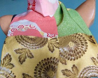 Gold And Green Silk Scarf Vintage Kimono OOAK  - Ginny