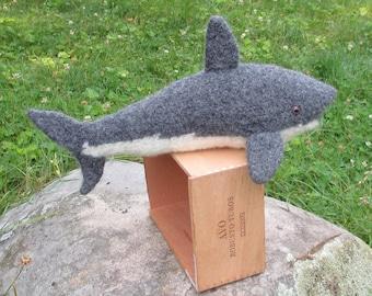 Great White Shark Stuffed Animal, handknit plush shark. Handmade Stuffed animal.