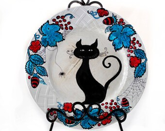 Decorative Plate - Inked Original Art - Black Cat and Spider - Vintage Mikasa Plate - Dark Home Decor