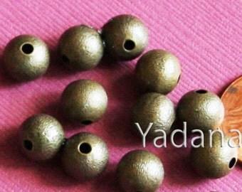 50 pcs of Anitque brass round brush beads 8mm