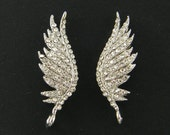 Wing Earrings Findings Clear Rhinestone Silver Angel Wing Post Earrings Feather with Loop Wedding Bridal Prom Special Occasion |S13-3|2M
