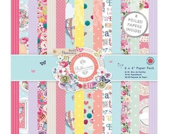 "Bellissima Papermania Paper Pack 6""X6"" 32/Pkg • Scrapbooking Paper • Floral Paper • Vintage Flower Paper • Hot Air Balloon (PMA 160178)"