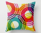 Decorative throw pillows - Colorful Pillow cover - Circles pillow- Modern pillow - Design cushion - Contemporary pillow