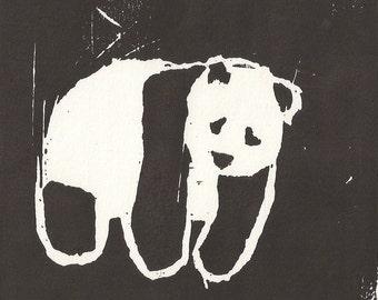 Panda Woodcut Print