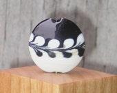 Handmade Lampwork Glass Focal Bead - Black N Ivory garland