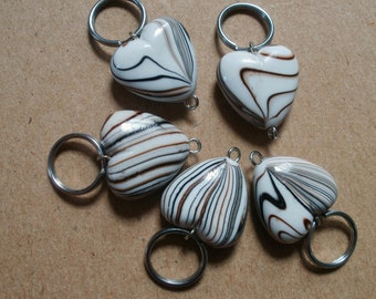 Chocolate Truffle Swirl Heart Stitch Markers - fits up to size US 10 or 6 mm knit needles