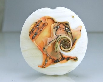 Etched Ivory and Silvered Coral Ivory Lampwork Focal Bead