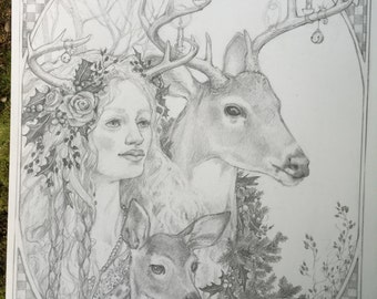 "Original Drawing for ""Holiday Card 2011"" by Renae Tayor"
