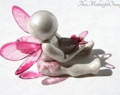 Go Tell My Mommy I'm Okay - angel baby clay butterfly sculpture - pregnancy infant and child loss sympathy gift of comfort - made to order