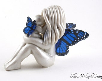 Mother and child butterfly sculpture with beautiful monarch wings - handmade clay figurine of mommy and baby fairy  - made to order