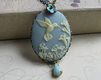 Vintage style hummingbird necklace, blue cameo necklace, large pendant, bird necklace, nature jewelry, wedding, woodland