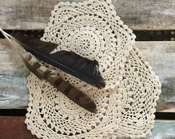 three vintage cream crochet doilies