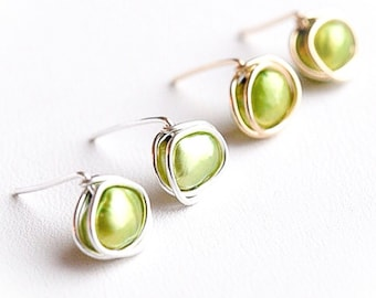 Green Fresh Water Pearls Wire Wrapped Posts by Emunique Jewelry, Gift for Her, Green Posts, Delicate Jewelry, Modern Posts