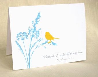 Christian Stationery - Set of 8 - Cards With Scripture - Bird