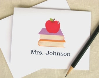 Personalized Teacher Stationery - Apple - Stack of Books - Set of 8 - Teacher Note Cards