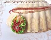 Sage Filigree Red Flower Victorian Rhinestone Pendant Beaded Maroon Necklace
