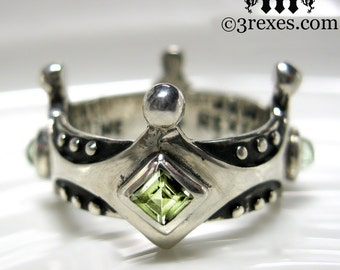 Silver Crown Engagement Ring Brandy Wine Gothic Medieval Band Green Peridot Size 8