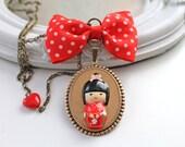 SALE 40% off Red Kokeshi doll Kawaii Necklace lolita cute