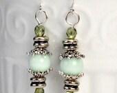 Mint Green Dangle Earrings, Victorian Inspired Earrings, Lightweight Mint Green Drop Earrings, Rustic Silver & Green Earring Dangles (3336)