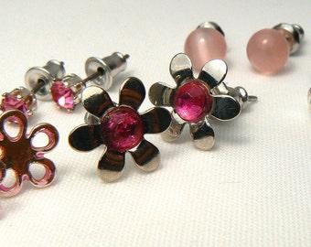 Pink Post Earring Mix, Vintage 5 Pair Post Earrings, Pink Flower Studs, Pink Crystal Post Earrings, Retro Pink Stud Earrings (E296)