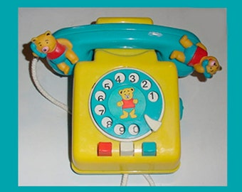 Pooh Bear -  Wind up Telephone Bank - So Cute - Toy Phone