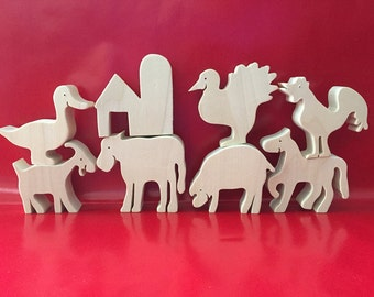 Wooden Farm Animal toy set, Waldorf, Heirloom toys, All Natural