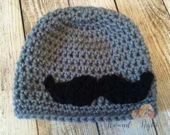 Crocheted Mustache Hat