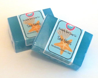 Sea Glass Glycerin Soap GIANT Bar Handmade by Bubble Girl Soap Co. - Ocean Waters, Citrus