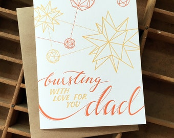 letterpress dad love polyhedron card