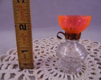 Vintage Lamp Perfume Bottle with Orange Plastic Globe