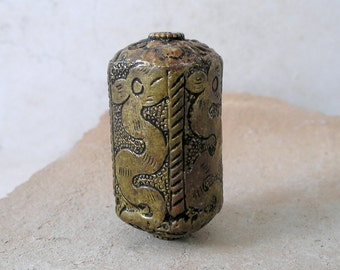 Brass Dragon Bead Tibetan Large Focal Naga Snake Primitive Carved Burnished Metal Four Sided RectangleFor Jewelry Making