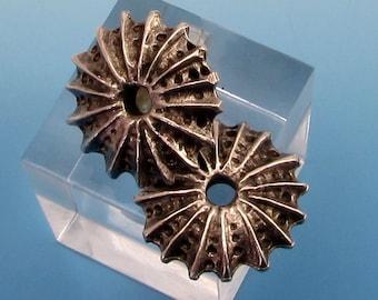 Sea Urchin Bead, Greek Casting, Pewter, 18 MM,  2 Pieces, M359