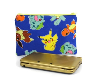 Pokemon Pikachu Nintendo 3DS XL Case / Blue Charmander Bulbasaur 3DS Pouch / Zipper Pouch Padded