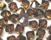 Vintage 100 pcs Swarovski Crystal 5301/5328 4mm Crystal Topaz Dorado Bicone Beads Wholesale